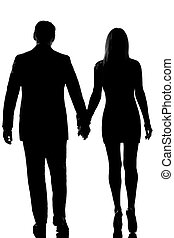 rear view one lovers couple man and woman walking hand in hand