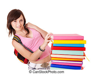 Girl with pile colored book Isolated