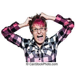 Woman screams and pulls her hair in frustration - Portrait...