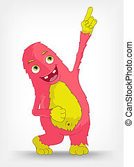 Funny Monster. Painter. - Cartoon Character Funny Monster...