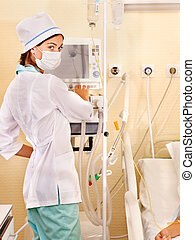 Female doctor with iv drip. - Hospital female doctor with iv...