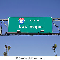 Las Vegas 15 Freeway Sign with Palms