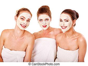 grupo, mujeres, facial, máscara