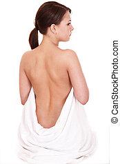 espalda, dolor, tratamiento, joven, mujer