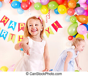 Child birthday party with girl.