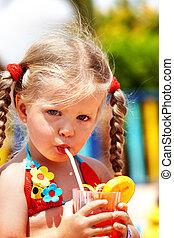 Child girl in glasses and bikini