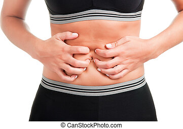 Stomach Ache - Woman suffering from stomach pain, isolated...