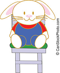 rabbit in a chair