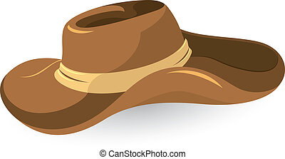 Brown cowboy hat close-up vector illustration on white...