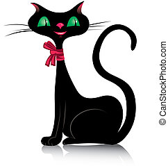 Black cat - Vector illustration of a black cat with green...