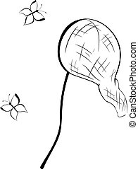 Black and white contour butterfly net vector illustration...