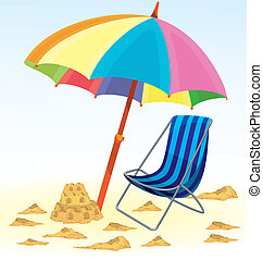 Beach umbrella chair sand castle vector illustration