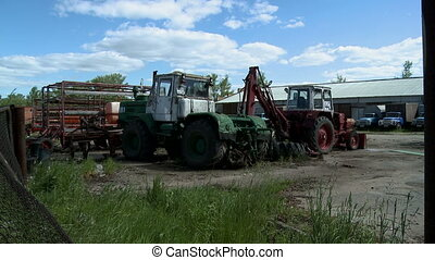 Agricultural machinery on farm