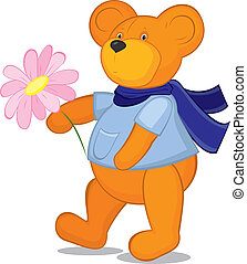 Teddy bear with flower in blue scarf