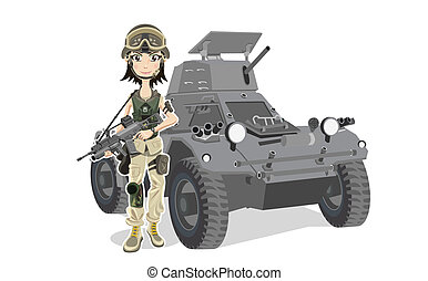 Female Soldier - Beautiful Soldier With Gun and Tank