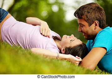 Summer love - Happy guy and girl spending time together in...