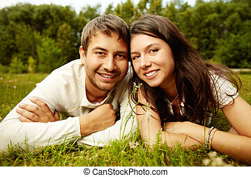 Rural happiness - Close-up portrait of two happy lovers...