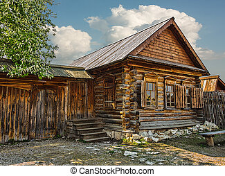 Old wooden house in the ancient village