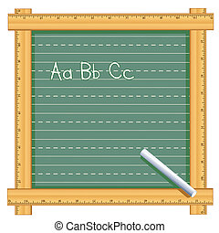 Ruler Frame Chalkboard, ABC - Chalkboard with wood ruler...
