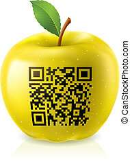Yellow apple and QR Code