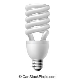 Energy saving lamp - White energy saving lamp. Illustration...