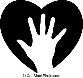 Helping Hand in the heart Illustration for design on white...