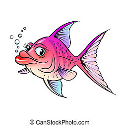 Cartoon fish Illustration for design on white background