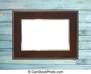 Vintage picture frame blue wood background - Vintage picture...