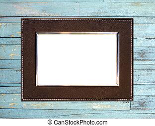Vintage picture frame blue wood background - Vintage picture...