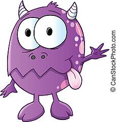 かわいい, 紫色, モンスター, ベクトル