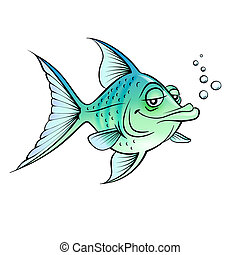 Green cartoon fish Illustration for design on white...