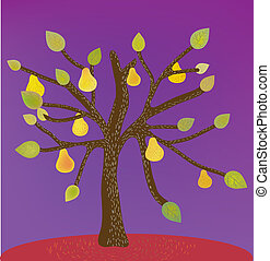 Decorative background with pear tree