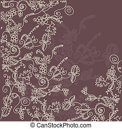 Floral ornate background with grape in dark colors