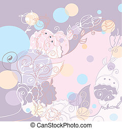 Floral greeting card background with circles