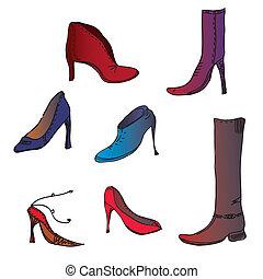 moda, sapatos, diferente, cores