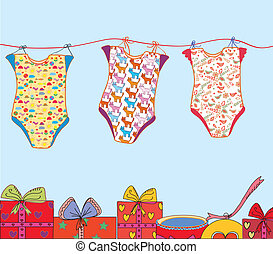 Baby laundry card with presents