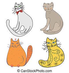 caricatura, Conjunto, gatos, diferente, Estilos