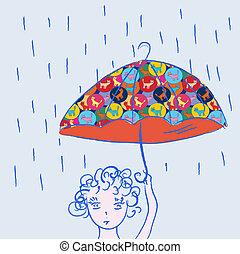 Cute child with umbrella in the rain