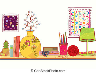 Shelf with book and house objects cartoon