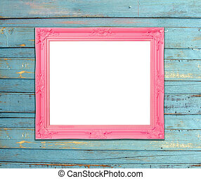 Pink Vintage picture frame on blue wood background - Pink...