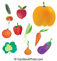 Vegetables set in bright colors