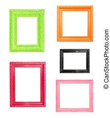 Pink Vintage picture frame on blue wood background - Pink...