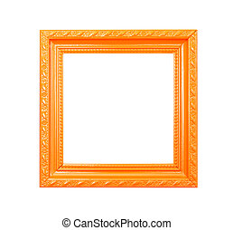 Orange Vintage picture frame on white background - Orange...