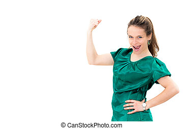 Portrait of young woman flexing her biceps on white...