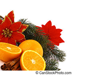 Christmas balls and orange on a white background