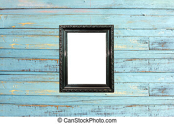 Black Vintage picture frame on old wood background - Black...