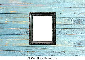 Black Vintage picture frame on old wood background - Black...