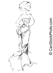 girl is in a beautiful evening long dress - a sketch of girl...