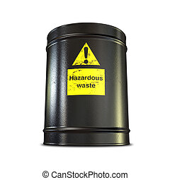 Hazardous Waste Barrel - A black metal barrel with a yellow...