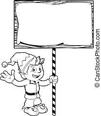 Cartoon Christmas elf with sign